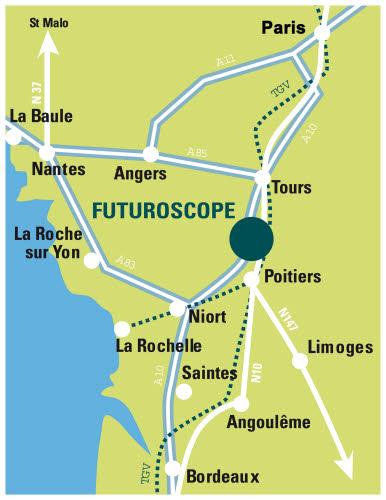 carte montrant l'adresse du futuroscope de poitiers